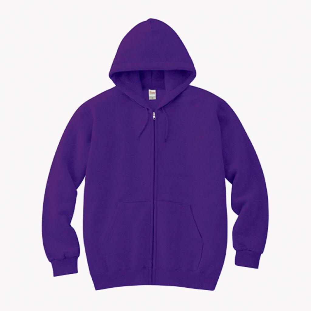 ライトスウェット ジップパーカ 紫
