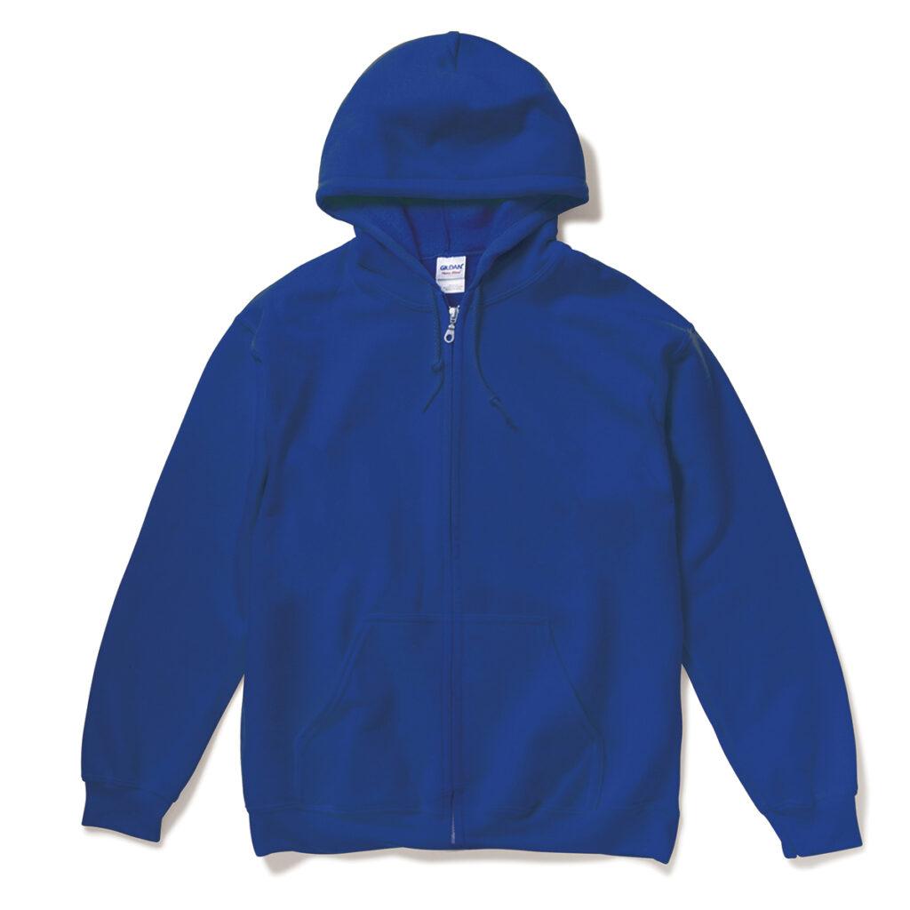 オーバーサイズ スウェットジップパーカー 青
