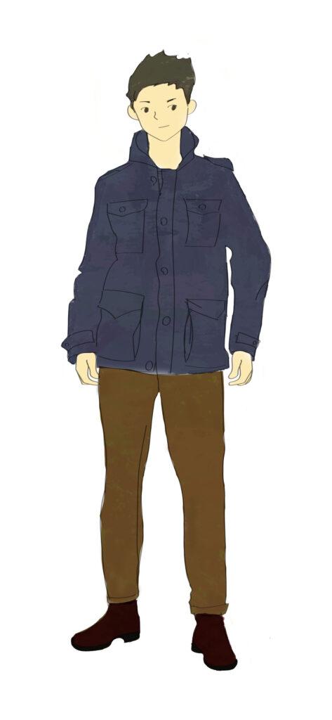 M65ジャケットネイビーブラウンパンツ