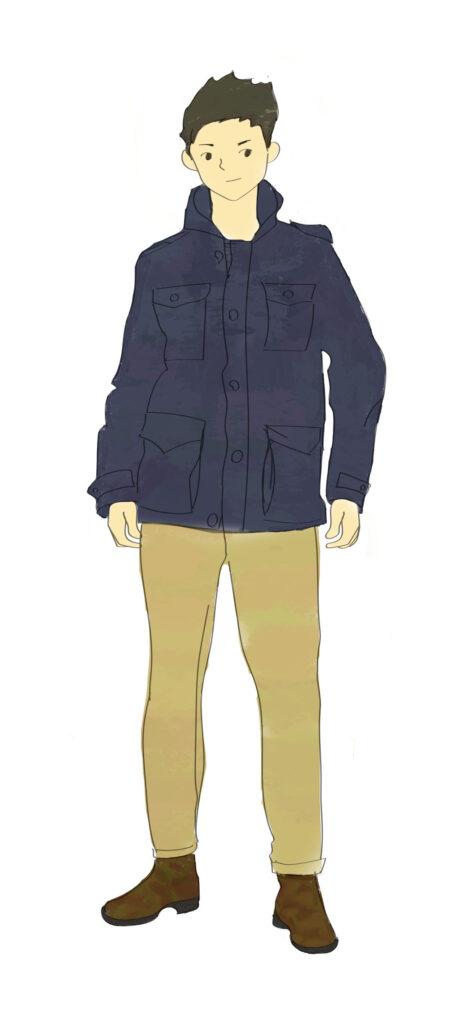 M65ジャケットネイビーベージュパンツ