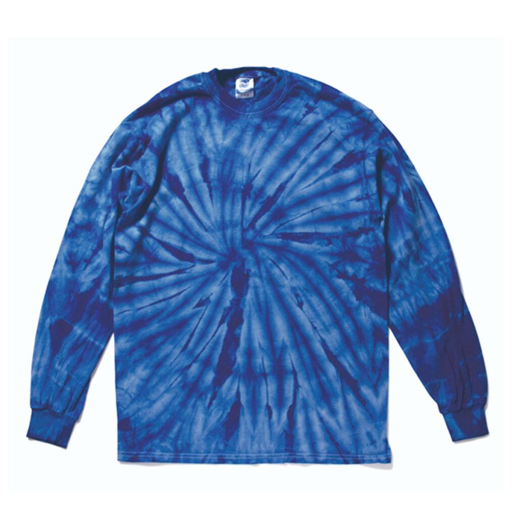 タイダイ オーバーサイズ クルーネックTシャツ(長袖・スパイダー)青
