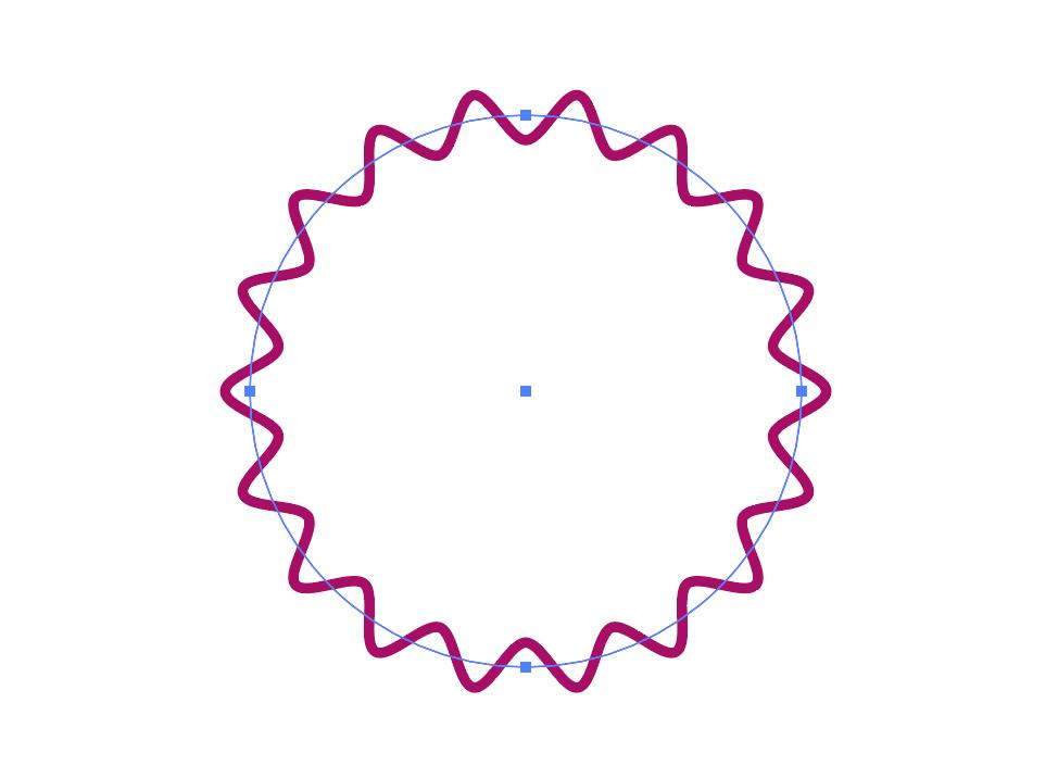 イラレなみなみ円形ロゴパスのアウトライン